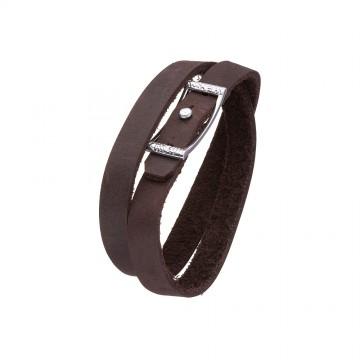 """Кожаный коричневый браслет с серебряным замком """"Качеля"""" 4412-Ko"""