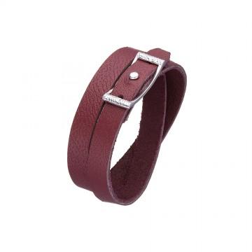 """Кожаный браслет цвета марсал с серебряным замком """"Качеля"""" 4412-Mr"""