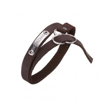 Безразмерный кожаный браслет коричневого цвета с серебряными вставками