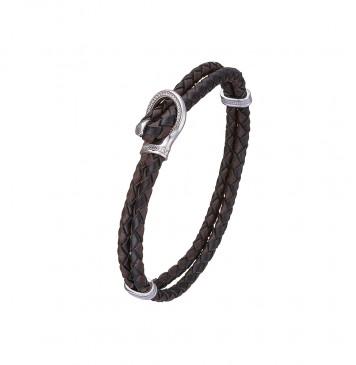 Круглая плетеная черно-коричневая кожа с серебряным замком Петля 4419-4k