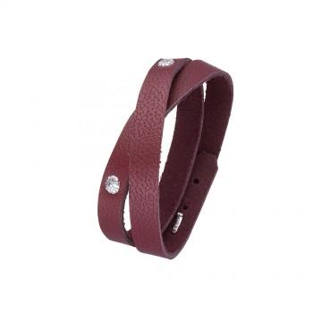 Кожаный браслет цвета марсал с серебряным замком
