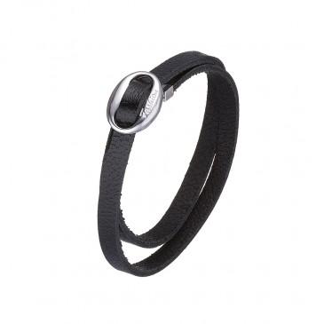 Кожаный черный браслет с серебряной вставкой