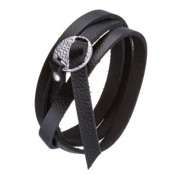 Безразмерный кожаный браслет черного цвета с серебряным замком 4435-4