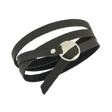 Безразмерный Кожаный браслет | Черного цвета | С серебряным замком 4436-4