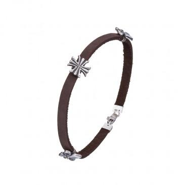 Кожаный коричневый браслет с серебряными вставками Лилия Крест 4445-Ko