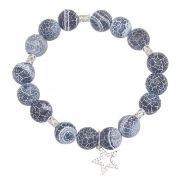 Браслет из Агат Кракле с серебряными вставками Звезда и боченок 4529
