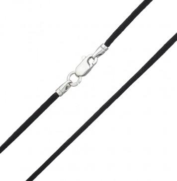 Гладкий шелк Черный 2.0 мм с серебряной застежкой 6102