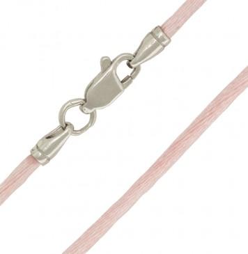 Гладкий шелк Розовый 2.0 мм с серебряной застежкой 6104