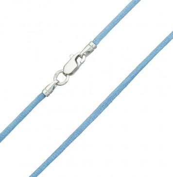 Гладкий шелк Голубой 2.0 мм с серебряной застежкой 6106