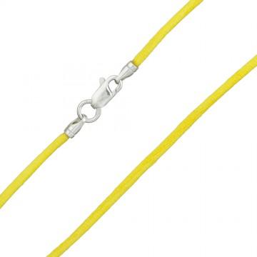 Гладкий шелк Желтый 2.0 мм с серебряной застежкой 6107