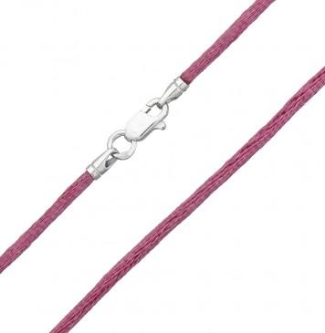 Гладкий шелк Фиолетовый 2.0 мм с серебряной застежкой 6111