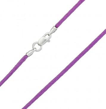 Гладкий шелк Баклажанового цвета 2.0 мм с серебряной застежкой 6112