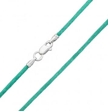гладкий шелк Зеленый 2.0 мм с серебряной застежкой 6113