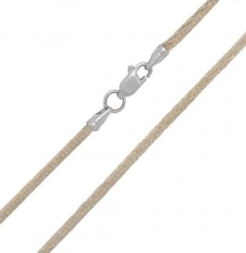 Гладкий шелк Оливкового цвета 2.0 мм с серебряной застежкой 6114