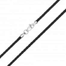 Плетеный шелк Черный 2.5 мм с серебряной застежкой 6201