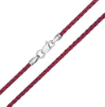 Плетеный шелк Бордовый(10) 2.5 мм с серебряной застежкой 6208