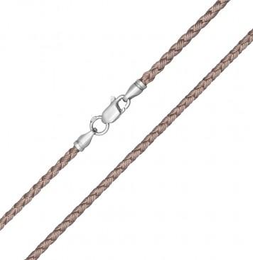 Плетеный шелк Бежевый 2.5 мм с серебряной застежкой 6211