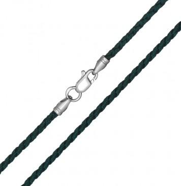 Плетеный шелк Зеленый(23) 2.5 мм с серебряной застежкой 6216