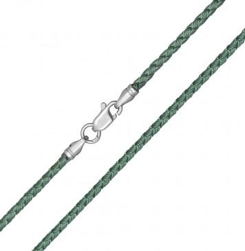 Плетеный шелк Зеленый(22) 2.5 мм с серебряной застежкой 6217