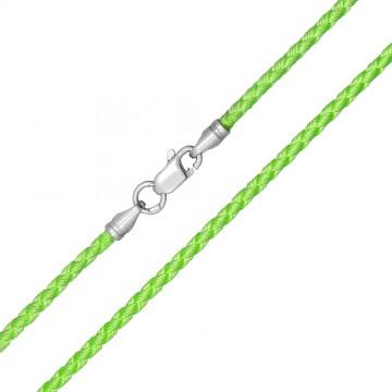 Плетеный шелк Салатовый 2.5 мм с серебряной застежкой 6219