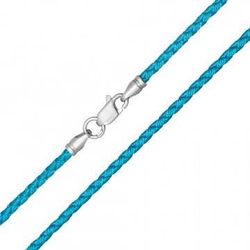 Плетеный шелк Голубой 2.5 мм с серебряной застежкой 6222