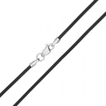 Каучук Черный 2.0 мм с серебряной застежкой 6301-4