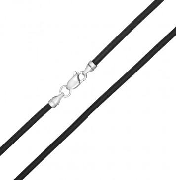 Каучук Черный 3.0 мм с серебряной застежкой 6361-4