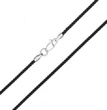 Крученый шелк Черный 2.0 мм с серебряной застежкой 6401