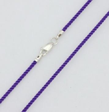 Крученый шелк Фиолетовый 2.0 мм с серебряной застежкой 6403
