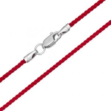 Крученый шелк Красный 2.0 мм с серебряной застежкой 6405