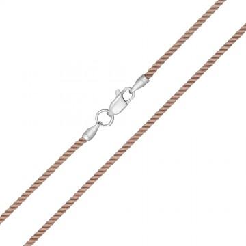 Крученый шелк Бежевый 2.0 мм с серебряной застежкой 6406