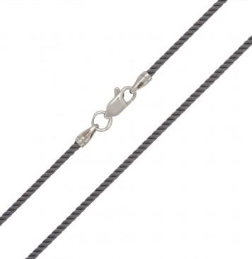 Крученый шелк Серый 2.0 мм с серебряной застежкой 6408
