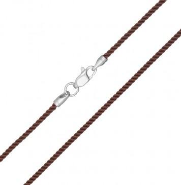 Крученый шелк Коричневый(36) 2.0 мм с серебряной застежкой 6409
