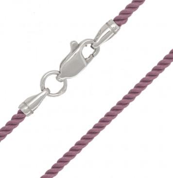 Крученый шелк Розовый 2.0 мм с серебряной застежкой 6413