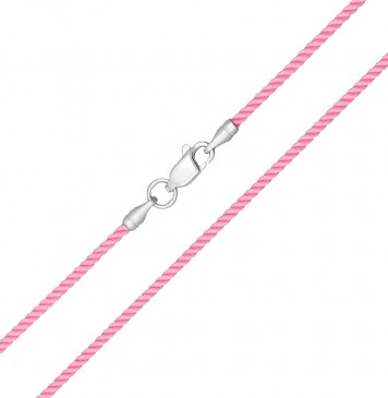 Крученый шелк Розовый 2.0 мм с серебряной застежкой 6415