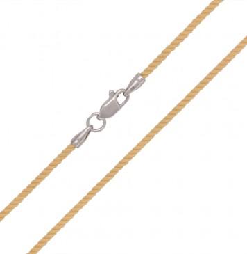 Крученый шелк Желтый 2.0 мм с серебряной застежкой 6417