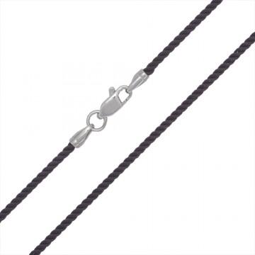 Крученый шелк Коричневый(35) 2.0 мм с серебряной застежкой 6420