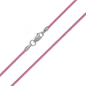 Крученый шелк Розовый 2.0 мм с серебряной застежкой 6421