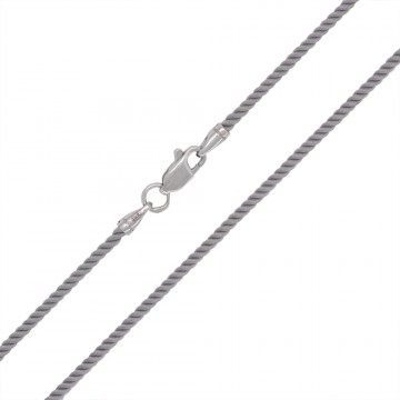 Крученый шелк Серый 2.0 мм с серебряной застежкой 6423