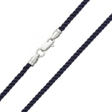 Крученый шелк Синий 3.0 мм с серебряной застежкой 6452