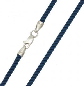 Крученый шелк Морская Волна 3.0 мм с серебряной застежкой 6458