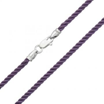 Крученый шелк Фиолетовый 3.0 мм с серебряной застежкой 6462