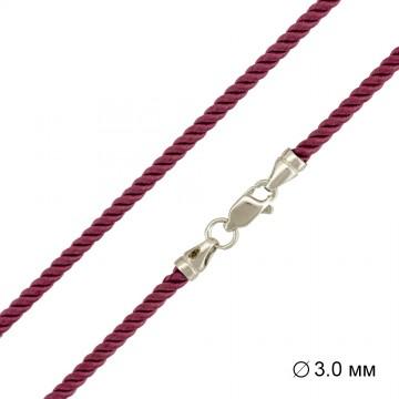 Крученый шелк Розовый 3.0 мм с серебряной застежкой 6463