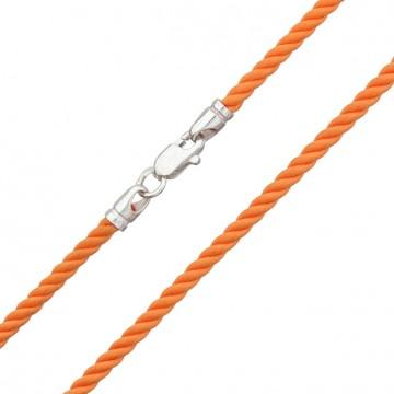 Крученый шелк Оранжевый 3.0 мм с серебряной застежкой 6468