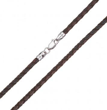 Плетеная кожа Черно-Коричневая 3.0 мм с серебряной застежкой 6531-4k