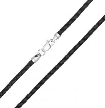 Плетеная кожа Черная 3.0 мм с серебряной застежкой 6532-4