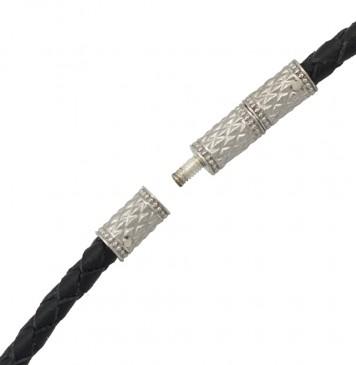 Плетеная кожа Черная 3.0 мм с серебряным замком-Закрутка 6540-4