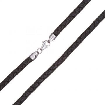 Плетеная кожа Черная 5.0 мм с серебряной застежкой 6555-4