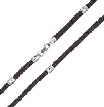 Плетеная кожа Черная 4.0 мм с серебряной застежкой и вставками 6557-4