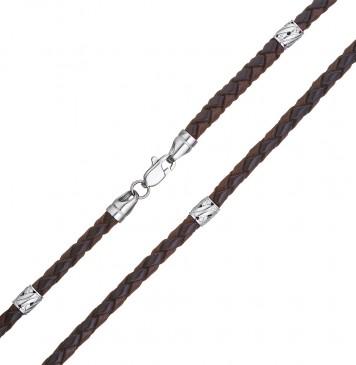 Плетеная кожа Черно-Коричневая 4.0 мм с серебряной застежкой и вставками 6557-4k